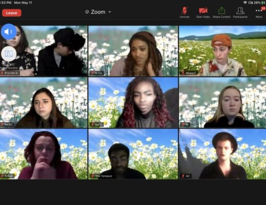A screenshot of Zoom. The cast of Too Solid Flesh is rehearsing for their upcoming live performance. A sunny meadow is seen in the background of each actor's screen.
